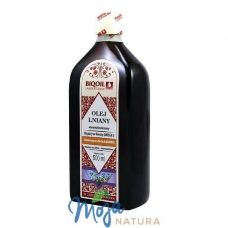 Olej lniany tłoczony na zimno 500ml BIQOIL
