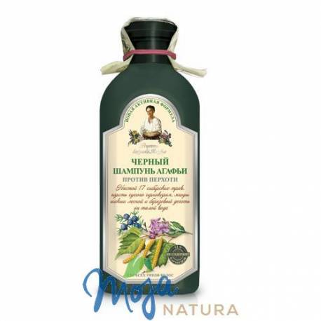 Czarny szampon przeciwłupieżowy 350ml BABUSZKI AGAFII